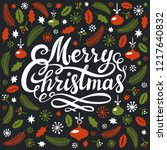 christmas greeting card with... | Shutterstock . vector #1217640832