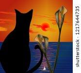 Black Cat. Sunset Above Calm...