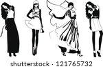 silhouette fashion girls | Shutterstock .eps vector #121765732
