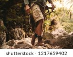 Low Section Of Man In Trekking...