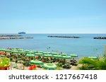 beautiful beach with plenty of... | Shutterstock . vector #1217667418