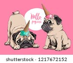 adorable beige puppies pugs in... | Shutterstock .eps vector #1217672152