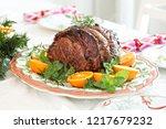 holiday christmas prime rib... | Shutterstock . vector #1217679232