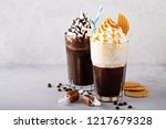 chocolate and caramel coffee... | Shutterstock . vector #1217679328