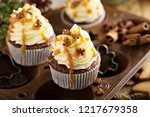 gingerbread cupcakes with... | Shutterstock . vector #1217679358