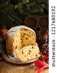 traditional christmas panettone ... | Shutterstock . vector #1217680192
