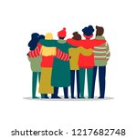 diverse friend group of people... | Shutterstock .eps vector #1217682748