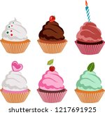 sweet dessert food and birthday ... | Shutterstock .eps vector #1217691925