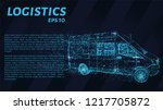 logistics of blue glowing dots. ... | Shutterstock .eps vector #1217705872