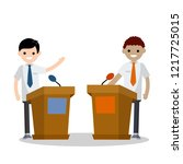 the debate of the two... | Shutterstock . vector #1217725015