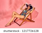 summer lifestyle fashion... | Shutterstock . vector #1217726128