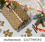 gingerbread house. christmas... | Shutterstock . vector #1217749192