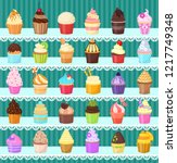 set of cupcakes on the shelves. ... | Shutterstock .eps vector #1217749348