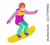 young girl is riding a...   Shutterstock .eps vector #1217749402