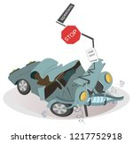 car crash and road signs... | Shutterstock .eps vector #1217752918