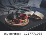 two cups of tea on a serving...   Shutterstock . vector #1217771098