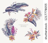 vector set of tropical leaves ... | Shutterstock .eps vector #1217778055