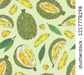 seamless pattern with durian ...   Shutterstock .eps vector #1217778298