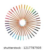 colored pencils arranged in a... | Shutterstock . vector #1217787505