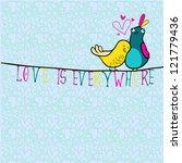 doodle birds couple among... | Shutterstock . vector #121779436