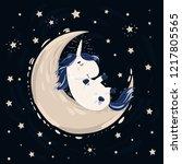unicorn with magic blue mane... | Shutterstock .eps vector #1217805565