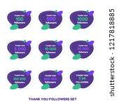 thank you followers card set.... | Shutterstock .eps vector #1217818885