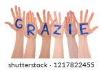many hands building grazie... | Shutterstock . vector #1217822455