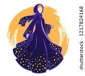 woman in the dark beautiful... | Shutterstock .eps vector #1217824168