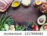 variety of healthy food | Shutterstock . vector #1217858482