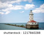 lighthouse with cloud  and blue ... | Shutterstock . vector #1217860288