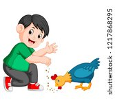 vector illustration of boy give ...   Shutterstock .eps vector #1217868295