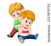 vector illustration of boy and... | Shutterstock .eps vector #1217870722