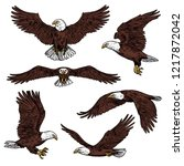 bald eagle icons flying with... | Shutterstock .eps vector #1217872042