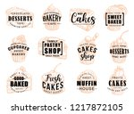 pastry desserts and sweet cakes ... | Shutterstock .eps vector #1217872105