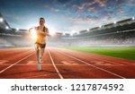 athlete running race. mixed... | Shutterstock . vector #1217874592
