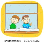 children looking at snow... | Shutterstock .eps vector #121787602
