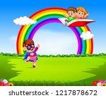 a boy wearing superhero costume ...   Shutterstock . vector #1217878672