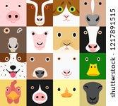 set of funny farm animals face   Shutterstock .eps vector #1217891515