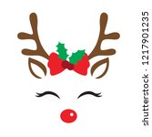 Stock vector vector illustration of a cute reindeer face with christmas decoration 1217901235