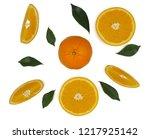 fruits orange slice on white... | Shutterstock . vector #1217925142