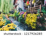 canal with flower in town of... | Shutterstock . vector #1217926285