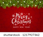 christmas tree border with... | Shutterstock .eps vector #1217927362