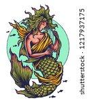 vector illustration of mermaid... | Shutterstock .eps vector #1217937175