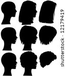 3 profile silhouettes of women  ... | Shutterstock .eps vector #12179419