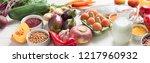 balanced diet food concept....   Shutterstock . vector #1217960932