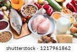 balanced diet food concept....   Shutterstock . vector #1217961862