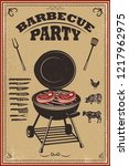 bbq party poster. barbeque and... | Shutterstock .eps vector #1217962975