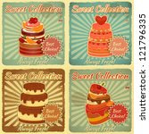Set Of Retro Cards With Cake....