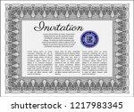 grey retro invitation template. ... | Shutterstock .eps vector #1217983345
