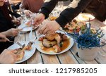 group of family and friends...   Shutterstock . vector #1217985205